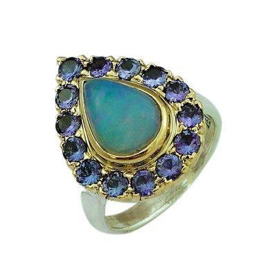 Halo Cocktail Ring Opal Tanzaniite