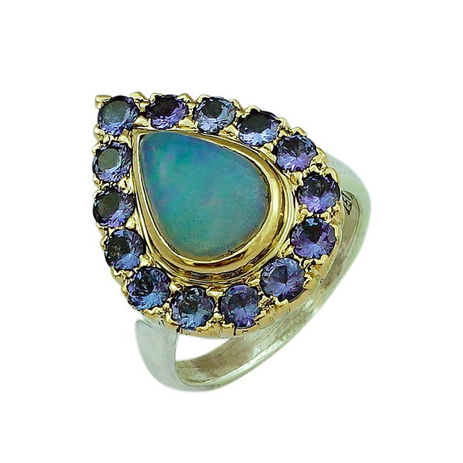 Halo Cocktail Ring Opal Tanzaniite