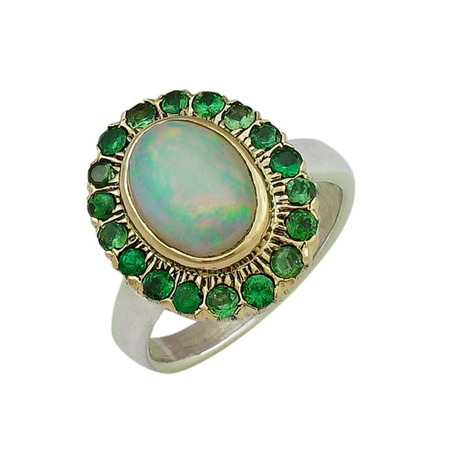 Halo Cocktail Ring Opal Tsavorite Garnet