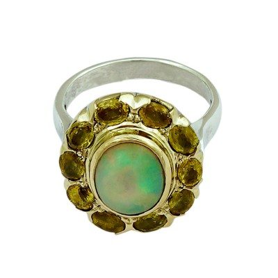 Halo Cocktail Ring Opal Yellow Sapphire