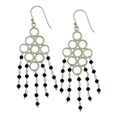 Sofia Earrings Black Spinel Silver