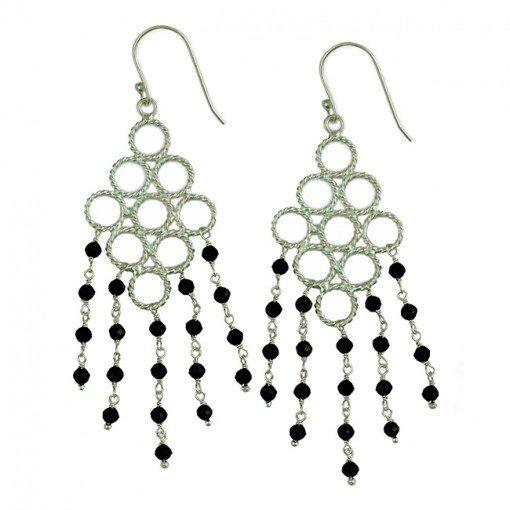 Sofia Earrings Black Spinel Silver