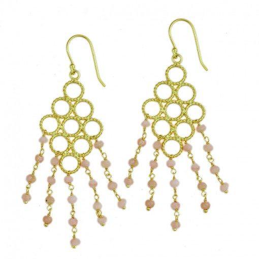 Sofia Earrings Pink Opal