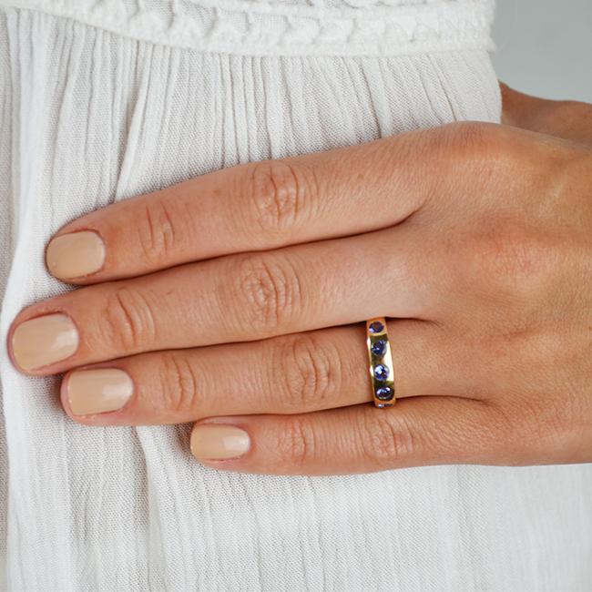 gold celebration ring tanzanite