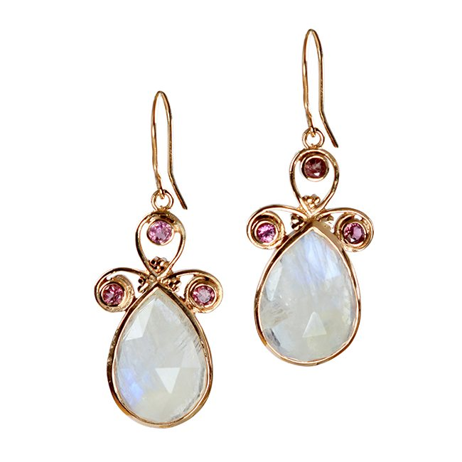 Nikita Earrings Moonstone Pink Tourmaline Rose Gold