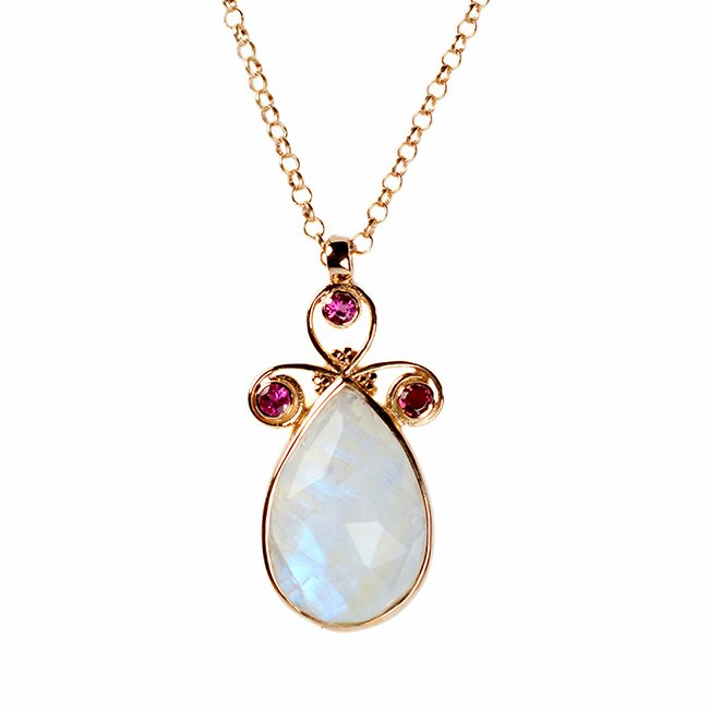 Nikita Necklace Moonstone Pink Tourmaline Rose Gold