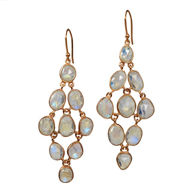 Tara Chandelier Earrings Moonstone Rose Gold