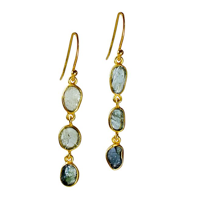 Tara Drop Earrings Green Blue Tourmaline