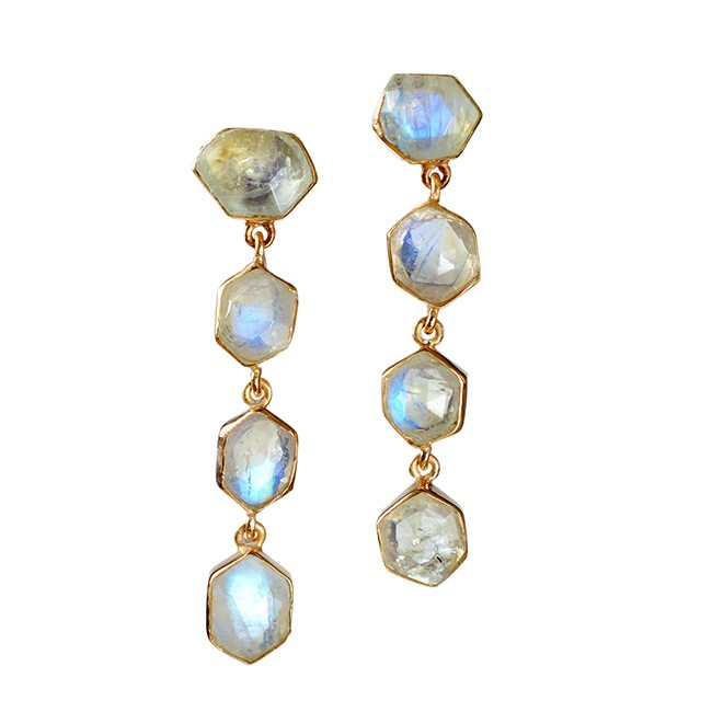 Tara Stud Earrings Moonstone Rose Gold