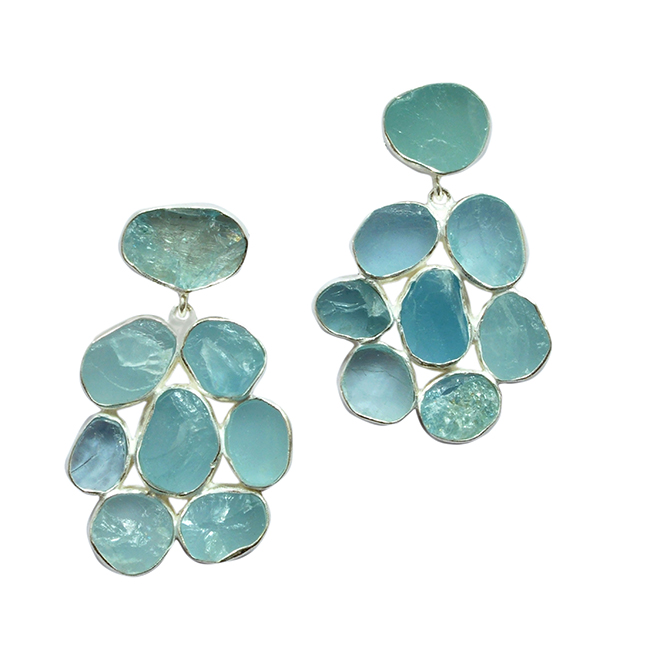 Aquamarine Flower Stud Earrings Silver Tara