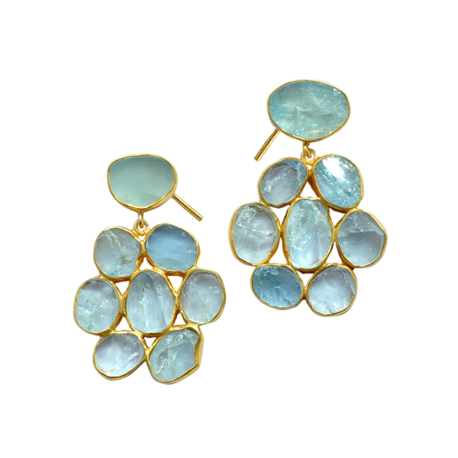 Aquamarine Flower Stud Earrings Tara