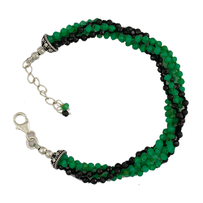 Chrysoprase Black Spinel Bead Bracelet Sofia