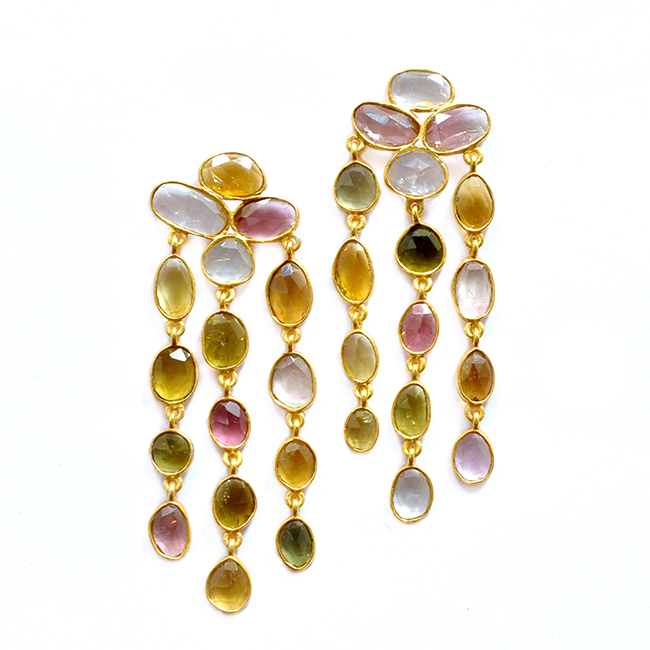 Multi Tourmaline Waterfall Earrings Tara