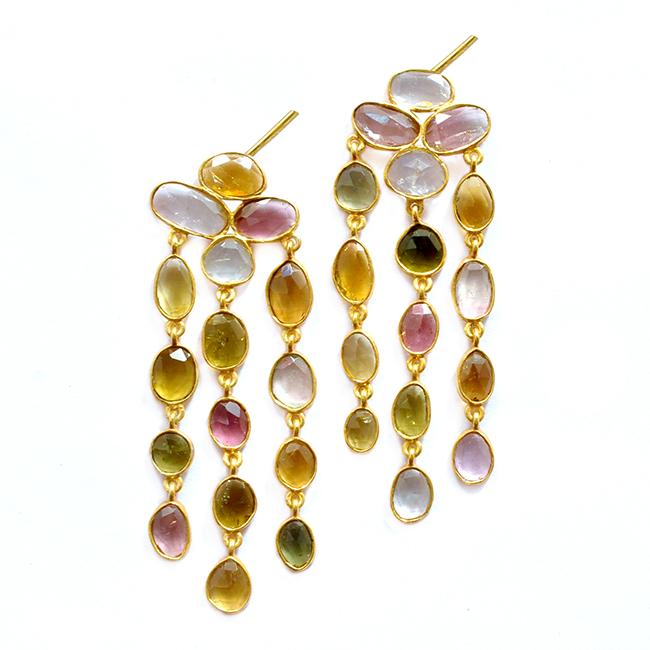 Multi Tourmaline Waterfall Earrings