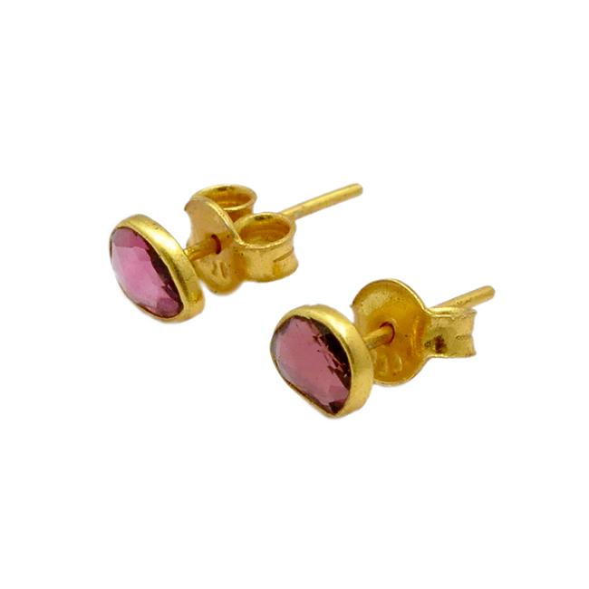 Single Stud Earrings Pink Tourmaline