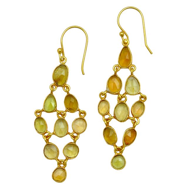 Tara Chandelier Earrings Green Gold Tourmaline