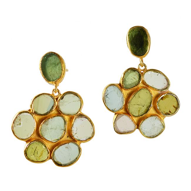 Green Tourmaline Flower Stud Earrings Tara