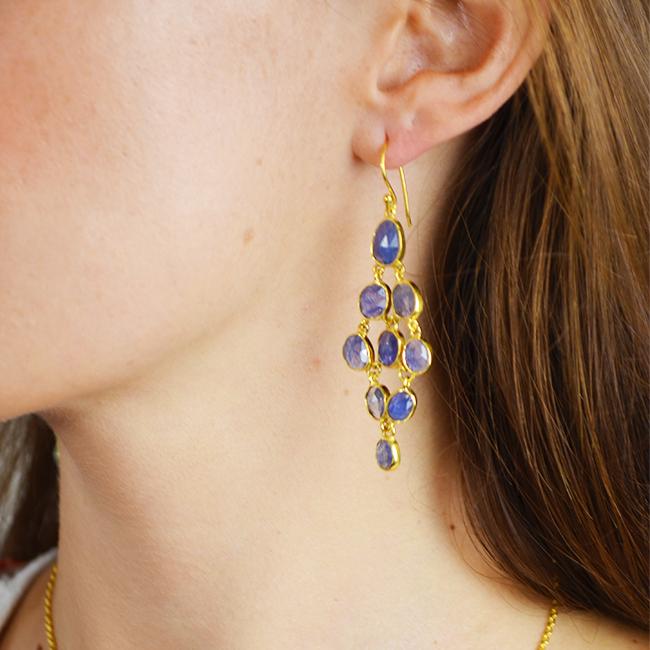 tanzanite chandelier earrings tara