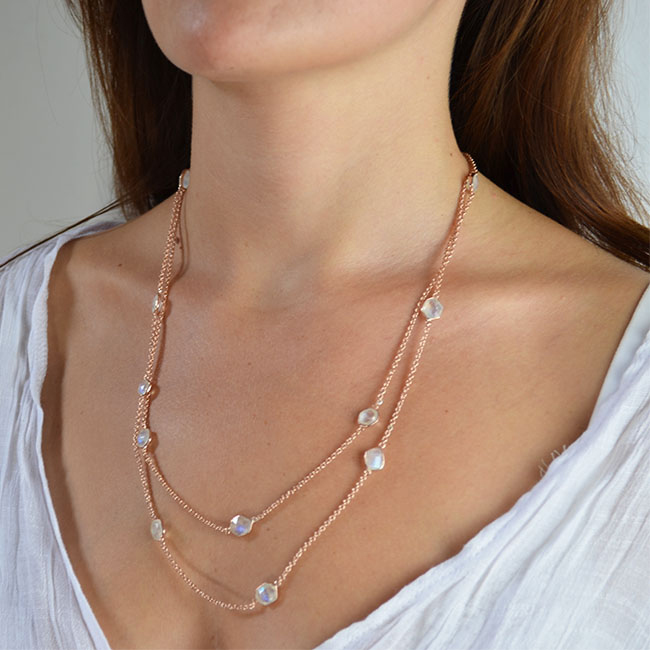 long moonstone necklace rose gold tara