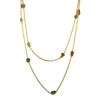 long multi tourmaline necklace
