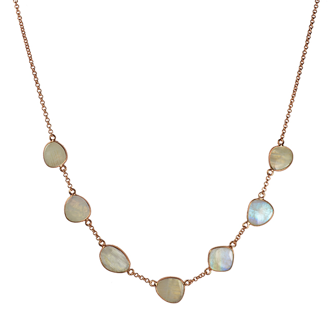 moonstone pebble necklace rose gold talitha