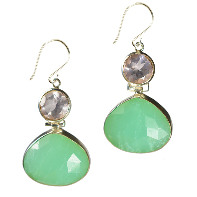 calypso earrings chrysoprase rose quartz silver