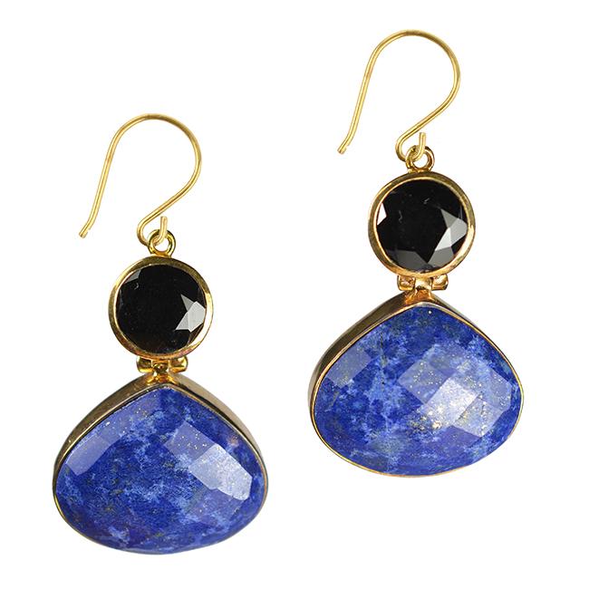 calypso earrings lapis lazuli black spinel
