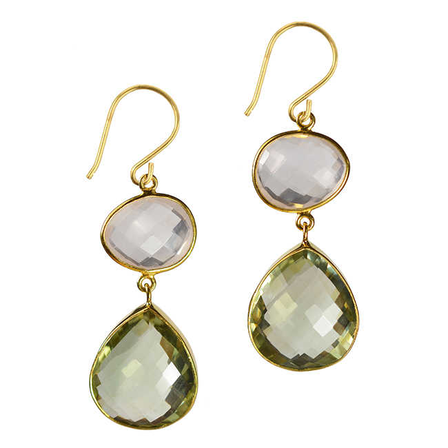 portia earrings rose quartz green amethyst