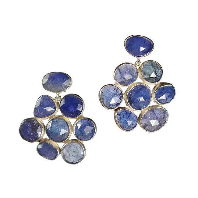tanzanite flower stud earrings silver tara