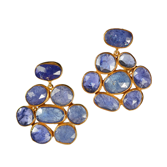 tanzanite flower stud earrings tara