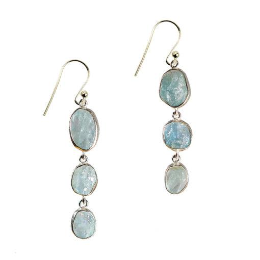 aquamarine drop earrings silver tara