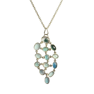 blue green tourmaline pendant necklace silver tara