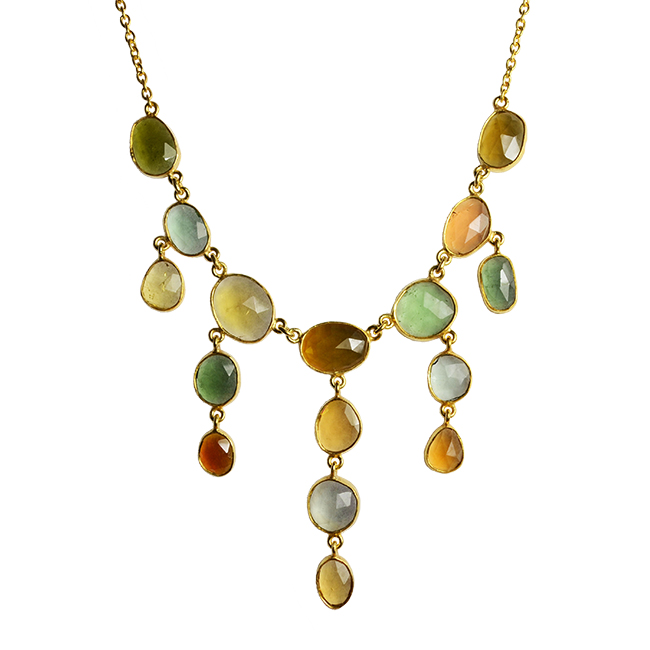 Green and Gold Tourmaline Necklace. Unique Tourmaline Jewellery.
