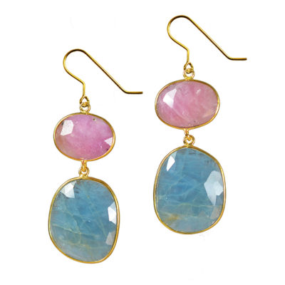large aquamarine pink sapphire earrings talitha
