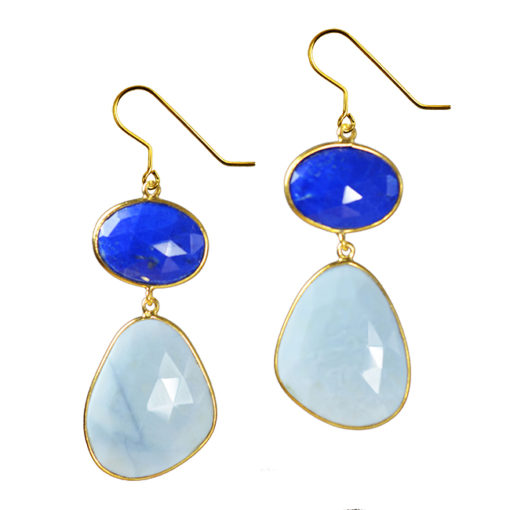 large blue opal lapis earrings talitha