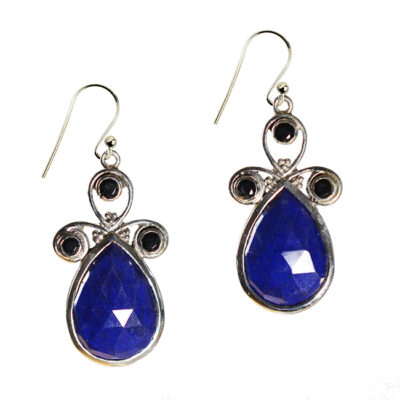 nikita earrings lapis lazuli black spinel silver