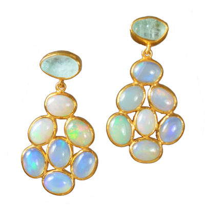 opal stud earrings aquamarine tara