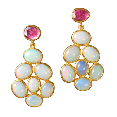 opal stud earrings pink tourmaline