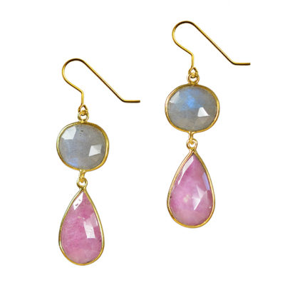 pink sapphire labradorite earrings talitha