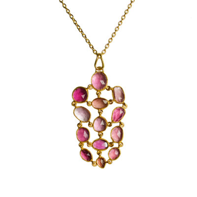 pink tourmaline pendant necklace tara