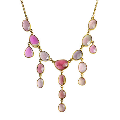 pink tourmaline waterfall necklace tara