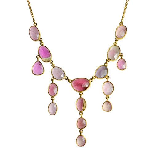 pink tourmaline waterfall necklace tara