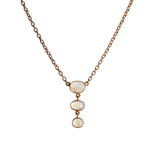 moonstone necklace rose gold tara