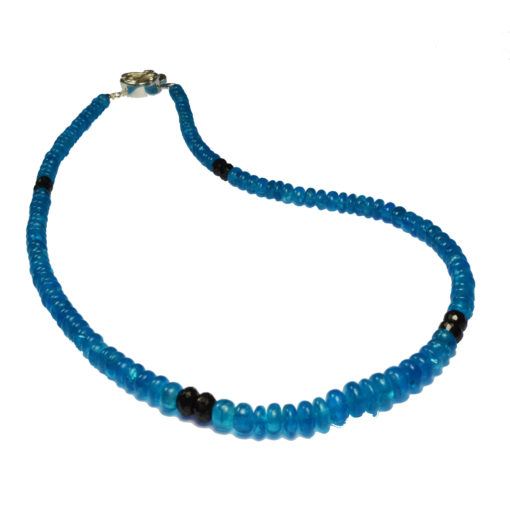 neon apatite black spinel bead necklace sofia
