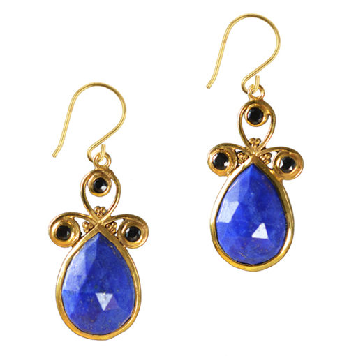 nikita earrings lapis lazuli black spinel