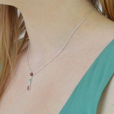 pink blue tourmaline necklace silver tara