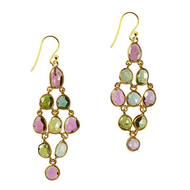 pink green tourmaline chandelier earrings tara