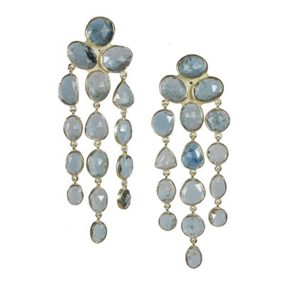 aquamarine waterfall chandelier earrings silver tara