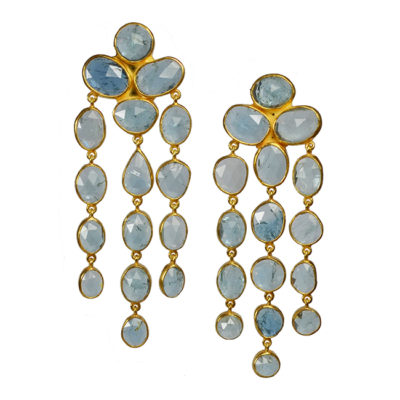 aquamarine waterfall chandelier earrings tara