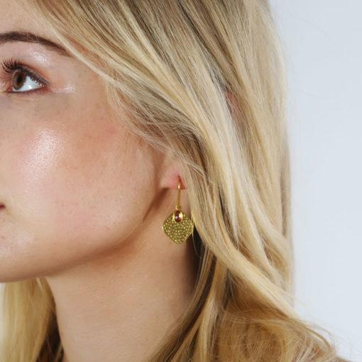 pink tourmaline disc earrings